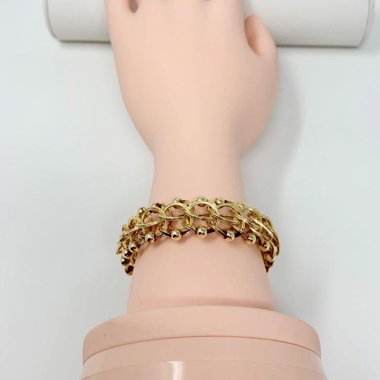 14 Karat Yellow Gold Vintage Bead Spiral Link Charm Bracelet 3