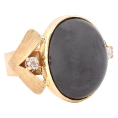14 Karat Yellow Gold Vintage Black Onyx and Diamond Ring