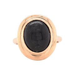 14 Karat Yellow Gold Vintage Black Star Sapphire Ring