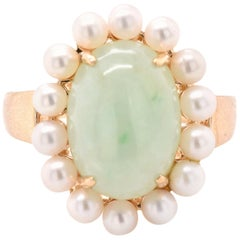 14 Karat Yellow Gold Vintage Cabochon Jade and Seed Pearl RIng