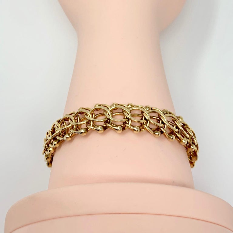14 Karat Yellow Gold Vintage Circle Link Beaded Charm Bracelet 2