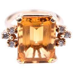 14 Karat Yellow Gold Vintage Citrine and Diamond Ring