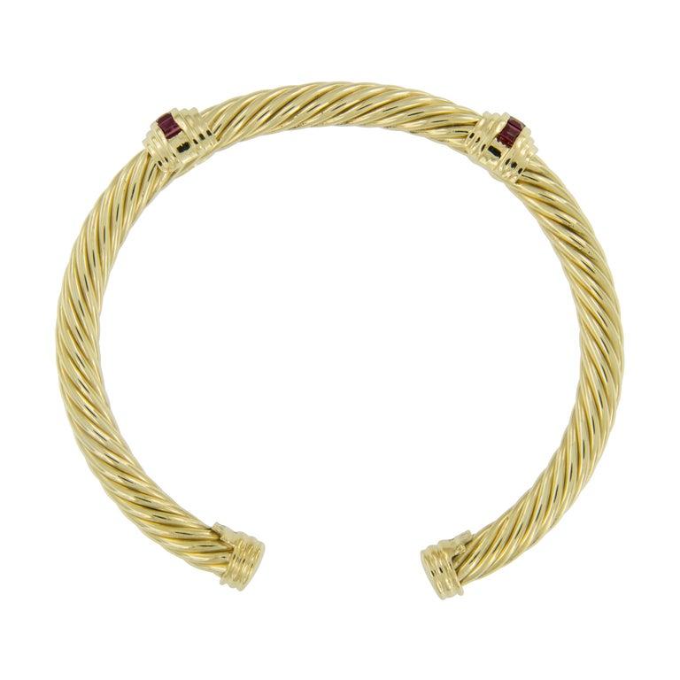 Square Cut 14 Karat Yellow Gold vintage David Yurman Ruby Cable Spira Cuff Bracelet