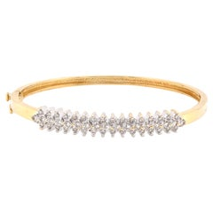 14 Karat Yellow Gold Vintage Diamond Bangle Bracelet
