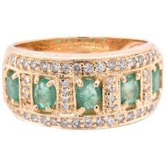 14 Karat Yellow Gold Vintage Emerald and Diamond Band