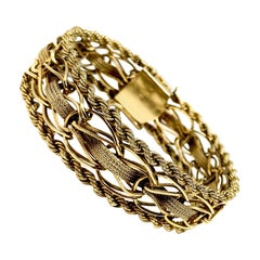 14 Karat Yellow Gold Vintage Fancy Link Chain Bracelet