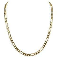 14 Karat Yellow Gold Vintage Figaro Link Chain Necklace