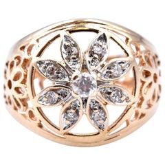 14 Karat Yellow Gold Vintage Floral Diamond Ring