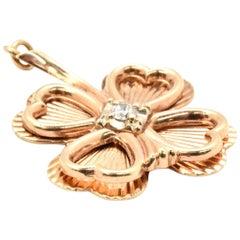14 Karat Yellow Gold Vintage Four-Leaf Clover Pendant with 0.12 Carat Diamond