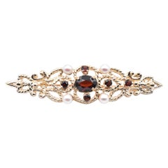 14 Karat Yellow Gold Vintage Garnet and Cultured Pearl Pin