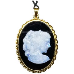 14 Karat Yellow Gold Vintage Hand Carved Opal Onyx Cameo Pendant
