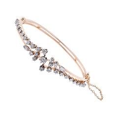 14 Karat Yellow Gold Vintage Hinged Diamond Bangle Bracelet