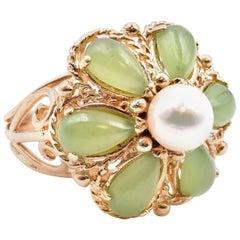 14 Karat Yellow Gold Vintage Jade and Pearl Ring