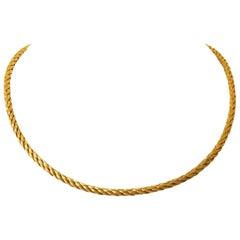 14 Karat Yellow Gold Vintage Ladies Satin Finish Braided Necklace, Germany
