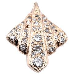 14 Karat Yellow Gold Vintage Mid-Century Modern Diamond Pendant