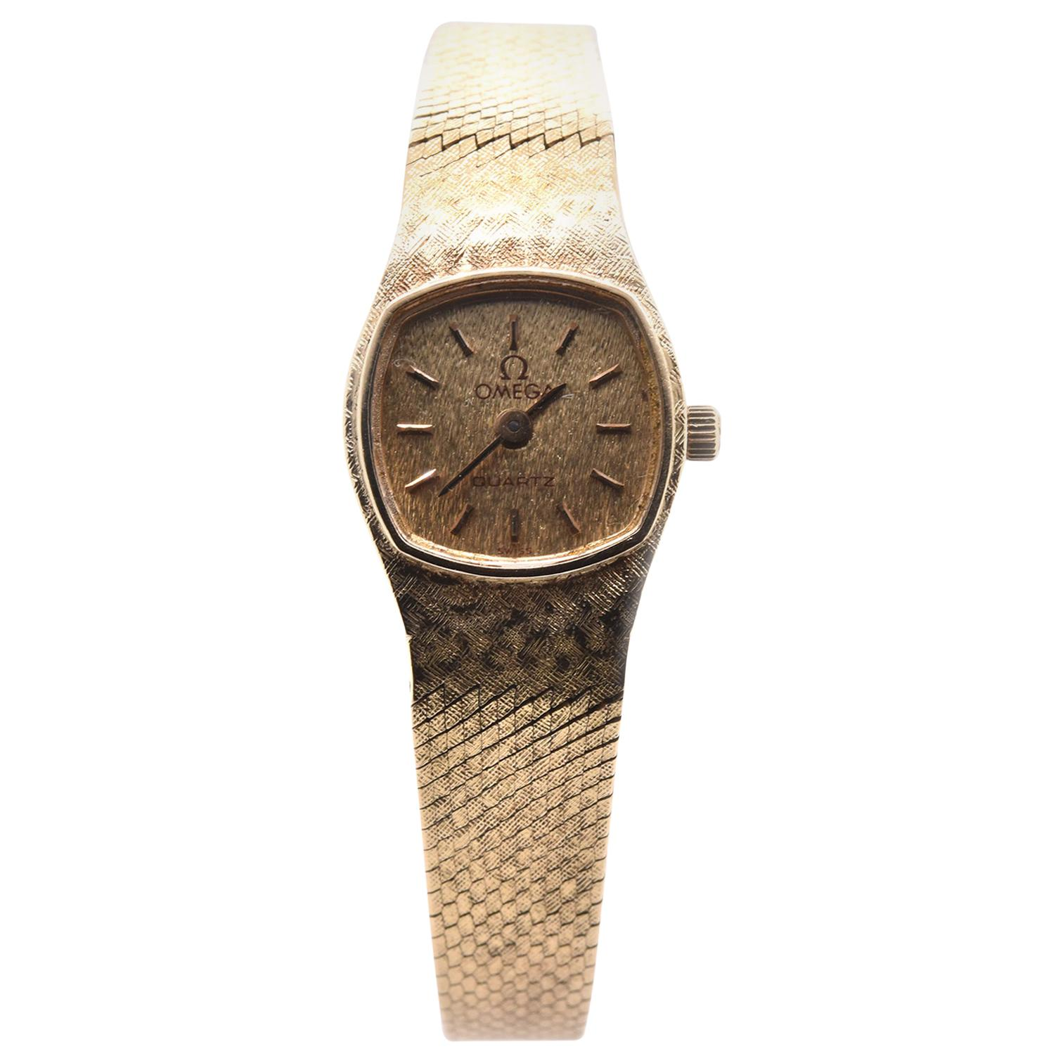 14 Karat Yellow Gold Vintage Omega Quartz Watch