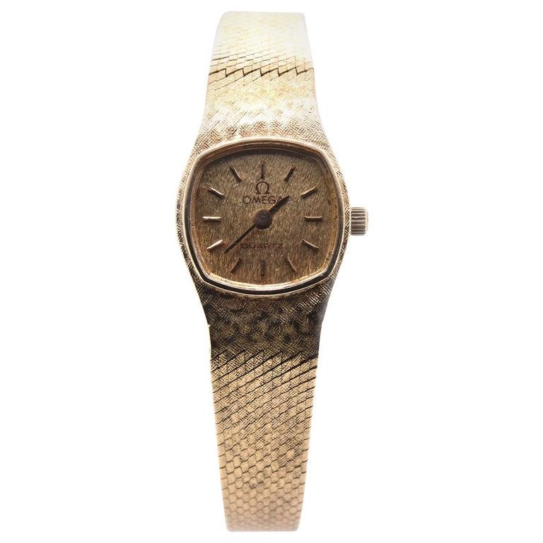 14 Karat Yellow Gold Vintage Omega Quartz Watch For Sale