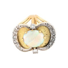 14 Karat Yellow Gold Vintage Opal and Diamond Ring