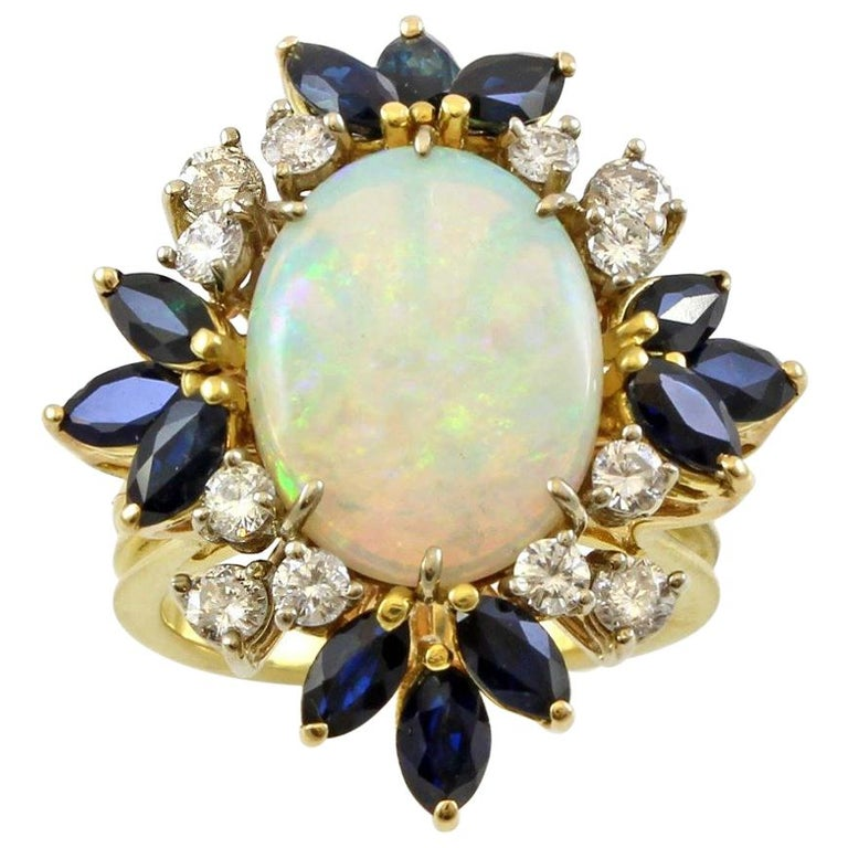 bf6801e6024 14 Karat Yellow Gold Vintage Opal and Diamonds Cocktail Ring For Sale