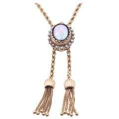 14 Karat Yellow Gold Vintage Opal and Seed Pearl Bolo Necklace
