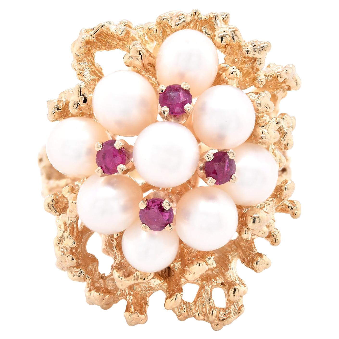 14 Karat Yellow Gold Vintage Pearl and Ruby Freeform Ring