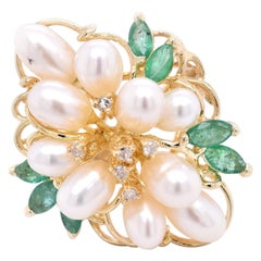 14 Karat Yellow Gold Vintage Pearl, Emerald, and Diamond Cocktail Ring