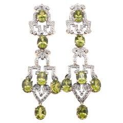 14 Karat Yellow Gold Vintage Peridot and Diamond Drop Earrings