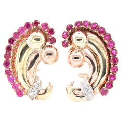 14 Karat Yellow Gold Vintage Pigeons Blood Ruby and Diamond Clip-On Earrings