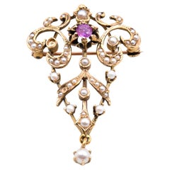 14 Karat Yellow Gold Vintage Ruby and Seed Pearl Pin