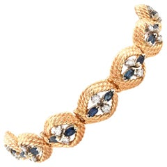 14 Karat Yellow Gold Vintage Sapphire and Diamond Bracelet