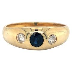 14 Karat Yellow Gold Vintage Sapphire and Diamond Burnish Set Ring