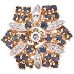 14 Karat Yellow Gold Vintage Sapphire and Diamond Cocktail Ring