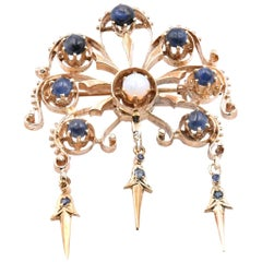 14 Karat Yellow Gold Vintage Sapphire and Opal Pin