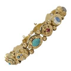 14 Karat Yellow Gold Vintage Slide Charm Bracelet