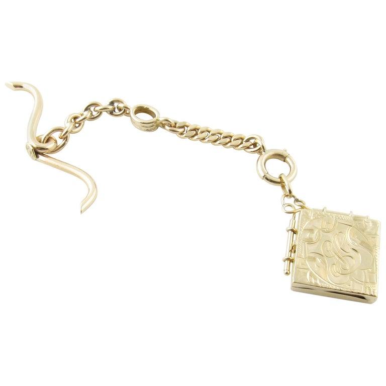 14 Karat Yellow Gold Watch Fob Locket For Sale
