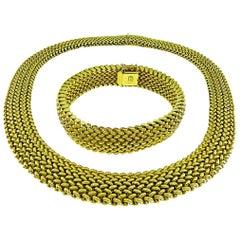 14 Karat Yellow Gold Weave Necklace and Bracelet Set