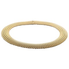 14 Karat Yellow Gold Weave Style Collar Necklace