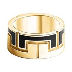 14 Karat Yellow Gold Wedding and Fashion Plain Eternity Greek Style Enamel Ring