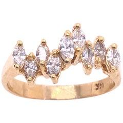 14 Karat Yellow Gold Wedding Bridal Ring with Marquise Diamonds