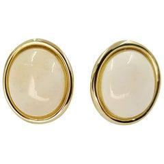 14 Karat Yellow Gold White Coral Stud Earrings