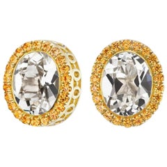14 Karat Yellow Gold White Topaz and Orange Sapphire Halo Stud Earring