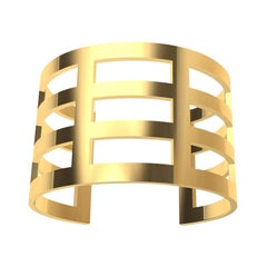 14 Karat Yellow Gold Wide Cuff Bracelet