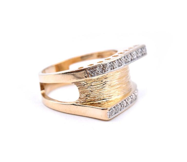 Round Cut 14 Karat Yellow Gold Wide Diamond Fashion Band For Sale