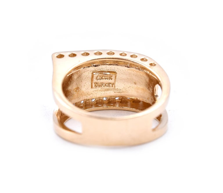 14 Karat Yellow Gold Wide Diamond Fashion Band In Excellent Condition For Sale In Scottsdale, AZ