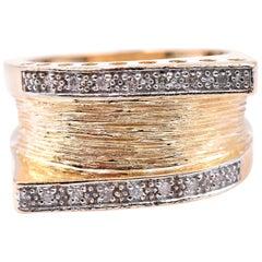 14 Karat Yellow Gold Wide Diamond Fashion Band