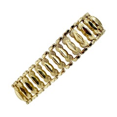 14 Karat Yellow Gold Wide Ladies Fancy Link Bracelet