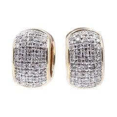 14 Karat Yellow Gold Wide Pave Diamond Huggie Hoop Earrings
