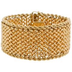 14 Karat Yellow Gold Wide Retro Bracelet