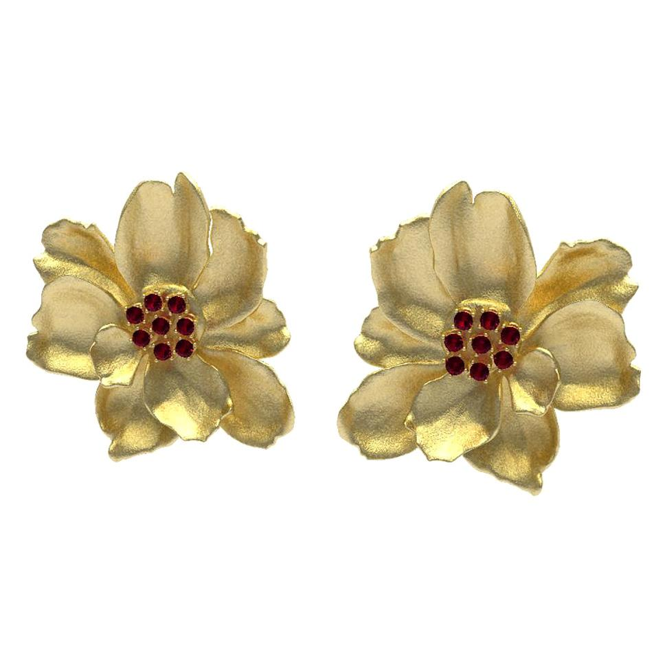 14 Karat Yellow Gold Wild Flower Earrings with Rubies
