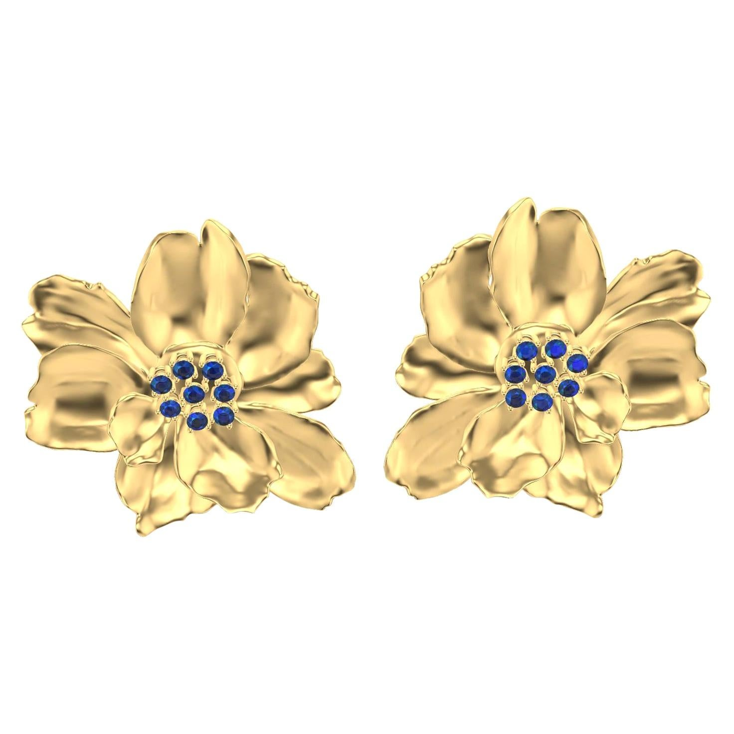 14 Karat Yellow Gold Wild Flower Earrings with Sapphires